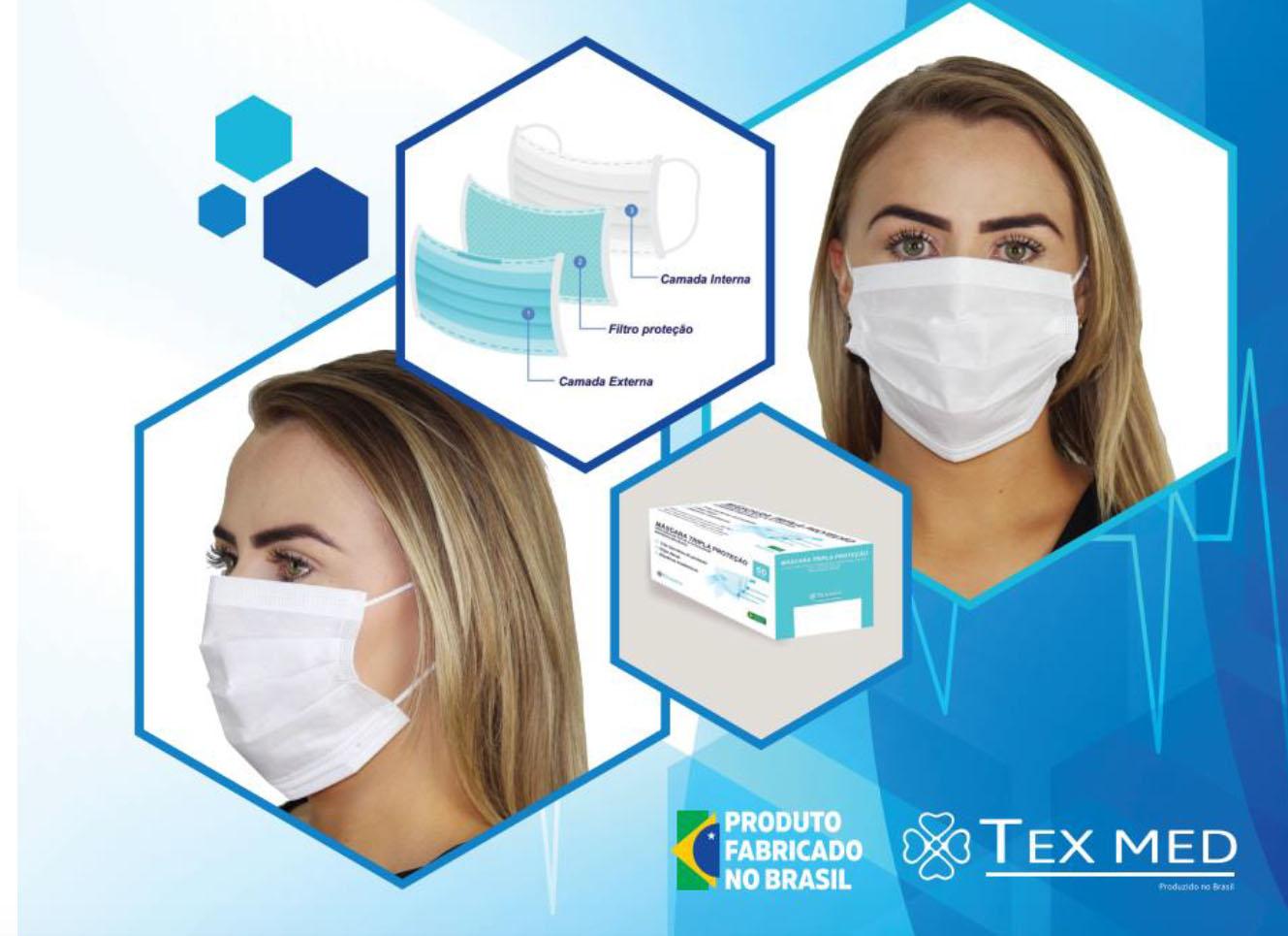 Máscara Tripla Cirúrgica TEXMED c/ filtro bateriológico BFE - caixa com 50 unidades