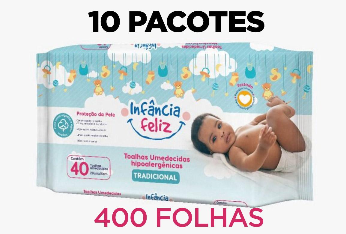 Toalhas Umedecidas Infância Feliz 10 pacotes com 400 Folhas