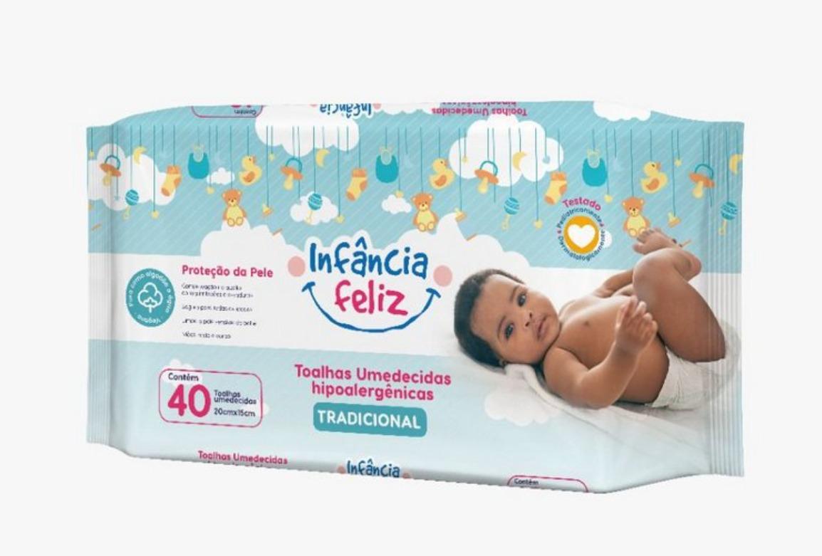 Toalhas Umedecidas Infância Feliz com 40 Folhas