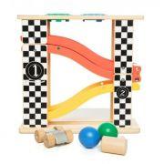 Brinquedo Didático Corrida de Bolinhas e Carrinho de Madeira - Estrela