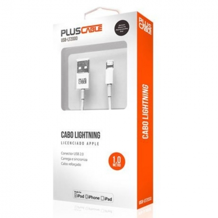 CABO USB-IPHONE 5/6 USB-LT2000WH 1M MFI PLUSC - PLUS CABLE