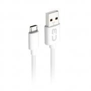 CABO USB-MICRO USB 1M CB-M10WH BRANCO C3PLUS