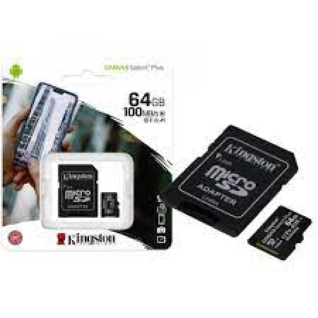 CARTÃO MICRO SD KINGSTON 64GB CLASS 10 COM ADAPTADOR - SDCS2/64GB
