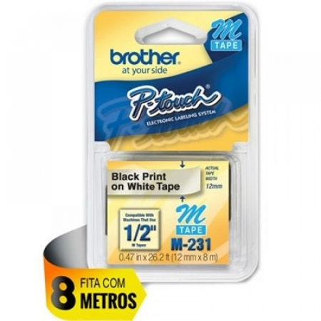 FITA ROTULADORA BROTHER M231, 12MM X 8M, PRETO SOBRE BRANCO