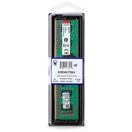 MEMÓRIA KINGSTON 4GB, 2400MHZ, DDR4, CL17 - KVR24N17S6/4