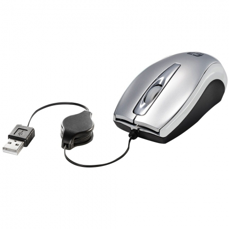 MOUSE MINI ÓPTICO RETRÁTIL USB MS3209-2 C3 TECH PRATA