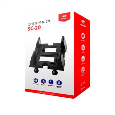 SUPORTE PARA CPU C3-TECH COM RODAS - SC-20BK