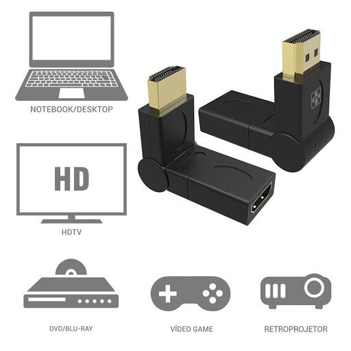 ADAPTADOR HDMI MAIS MANIA ROTAÇÃO 360 GRAUS HDMI M X F