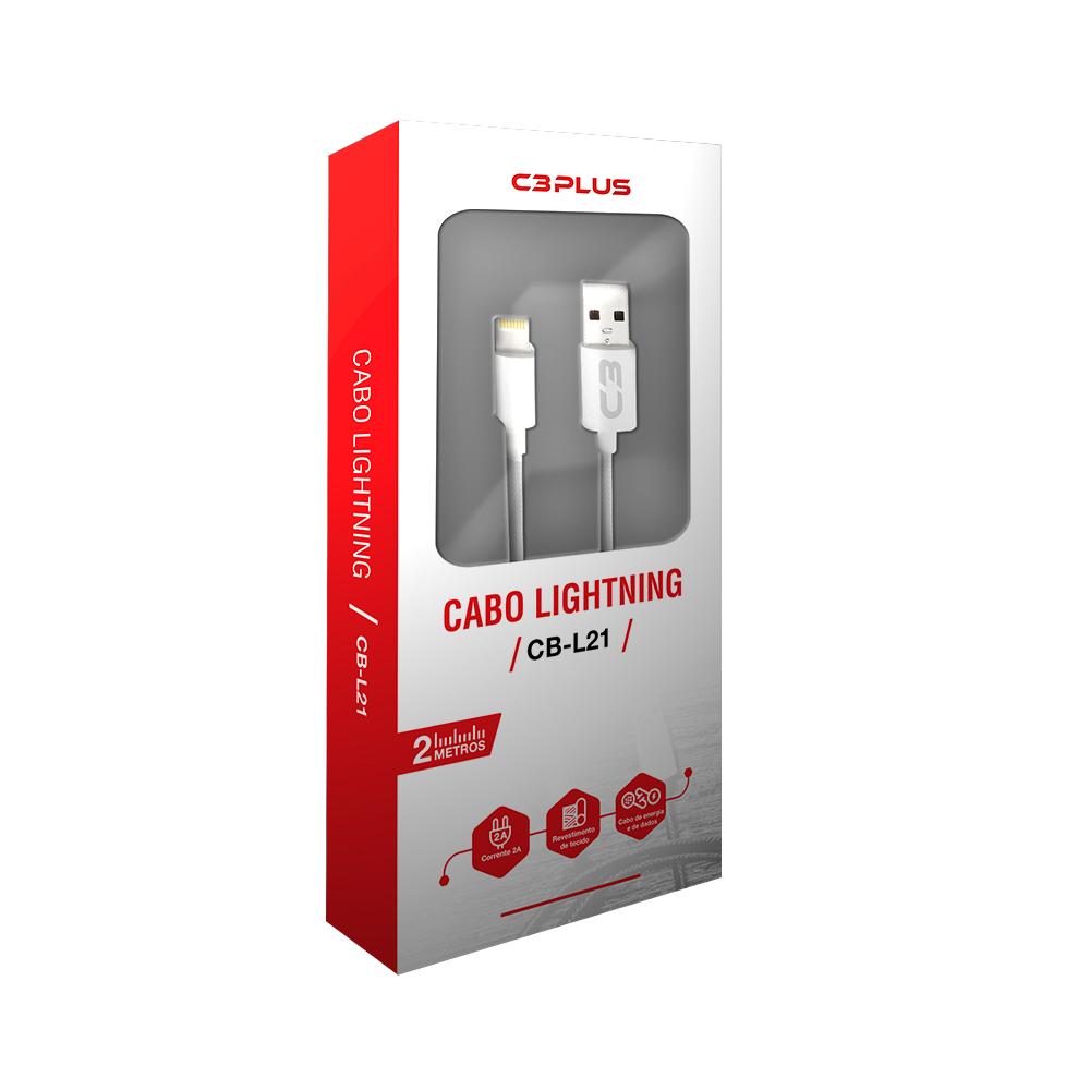 CABO USB LIGHTNING C3TECH - CB-L21WH