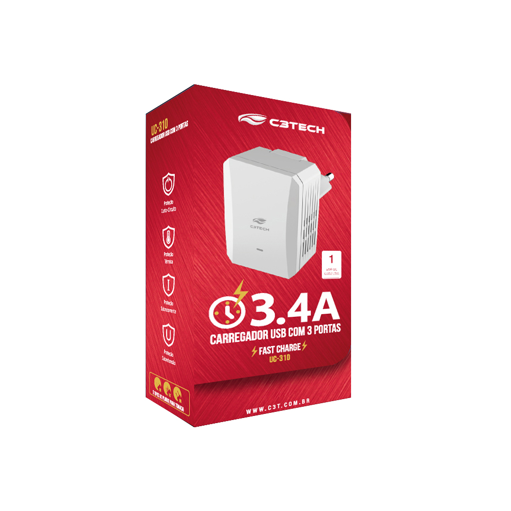 CARREGADOR USB COM 3 PORTAS C3 TECH - UC-315WH