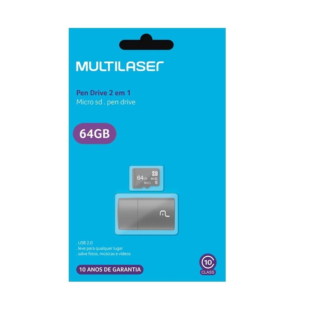 CARTAO DE MEMORIA MULTILASER 2X1: LEITOR USB + CLASSE 10 64GB - MC164