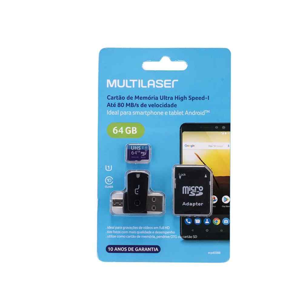 CARTÃO DE MEMÓRIA MULTILASER 64GB + ADPT USB DUAL DRIVE + ADAPTADOR SD - MC152