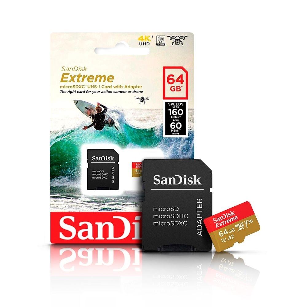 CARTÃO DE MEMÓRIA SANDISK 64GB EXTREME  SDSQXA2-064G-GN6AA