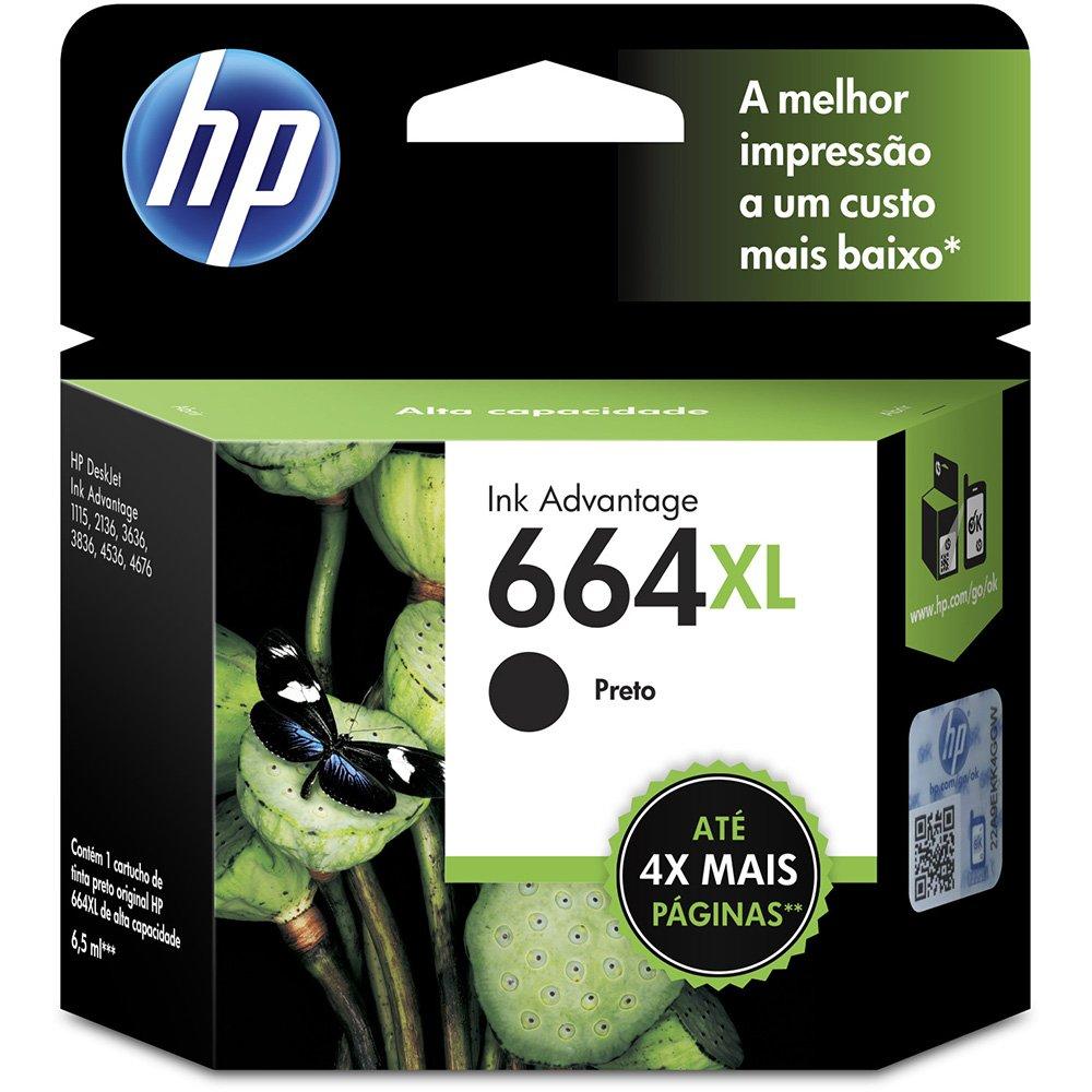 CARTUCHO HP 664XL, PRETO ORIGINAL