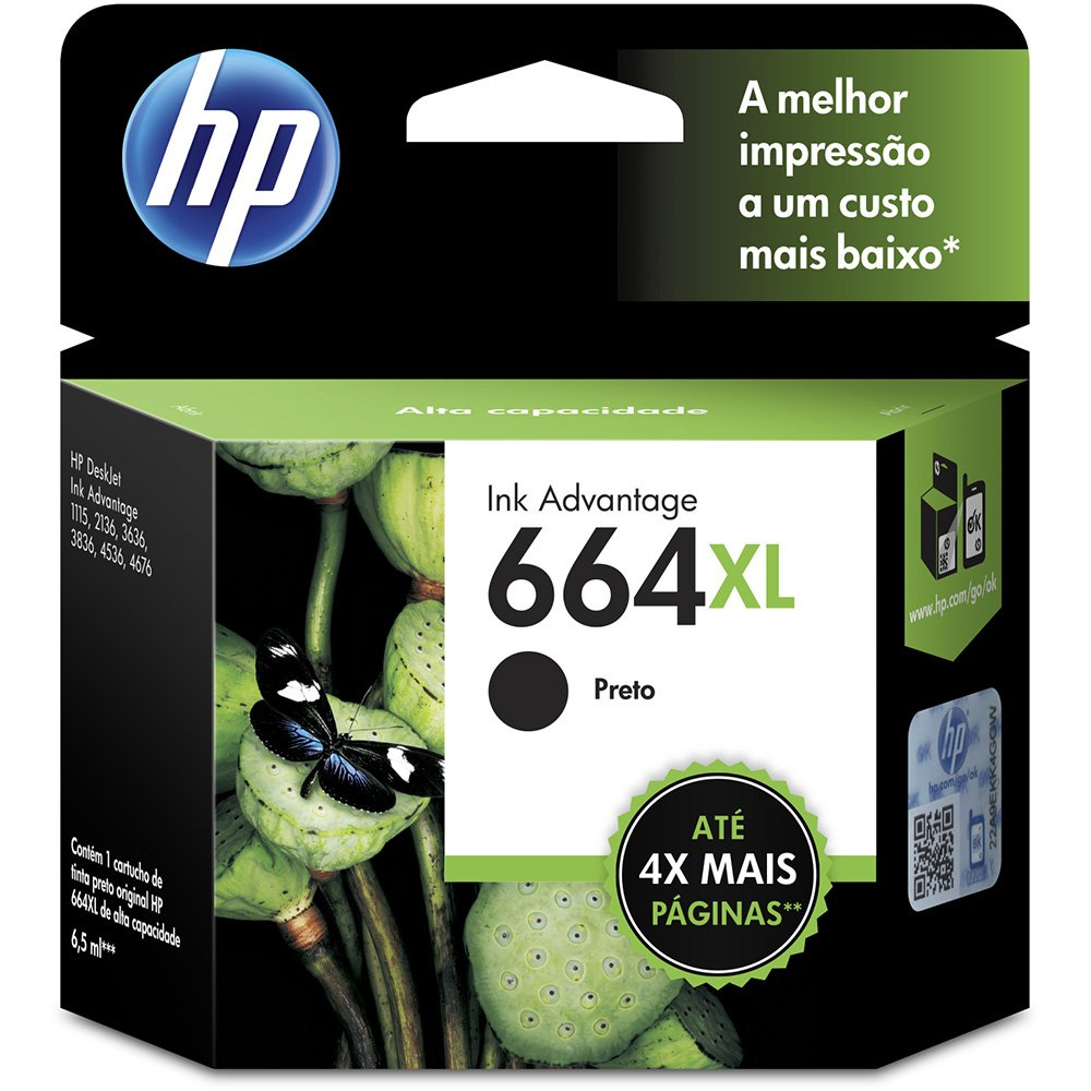 CARTUCHO HP 664XL PRETO ORIGINAL - F6V31AB