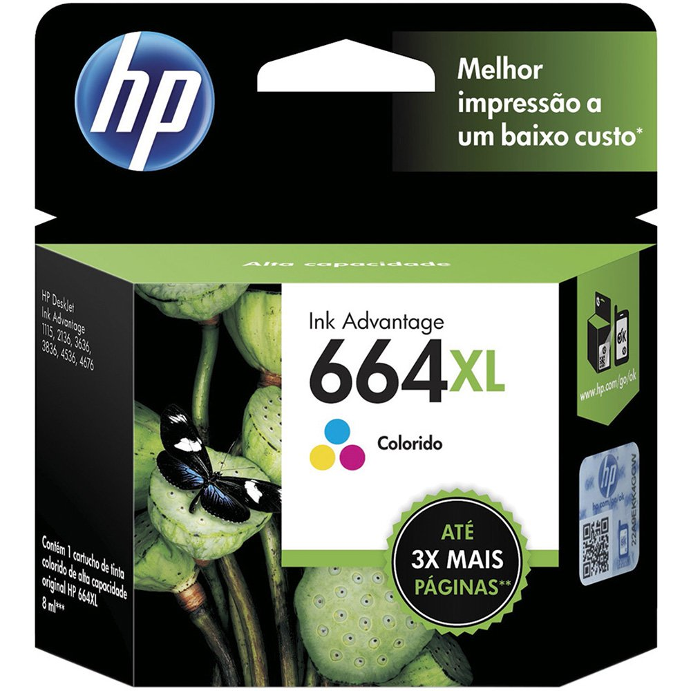 CARTUCHO HP 664XL TRI COLOR ORIGINAL - F6V30AB