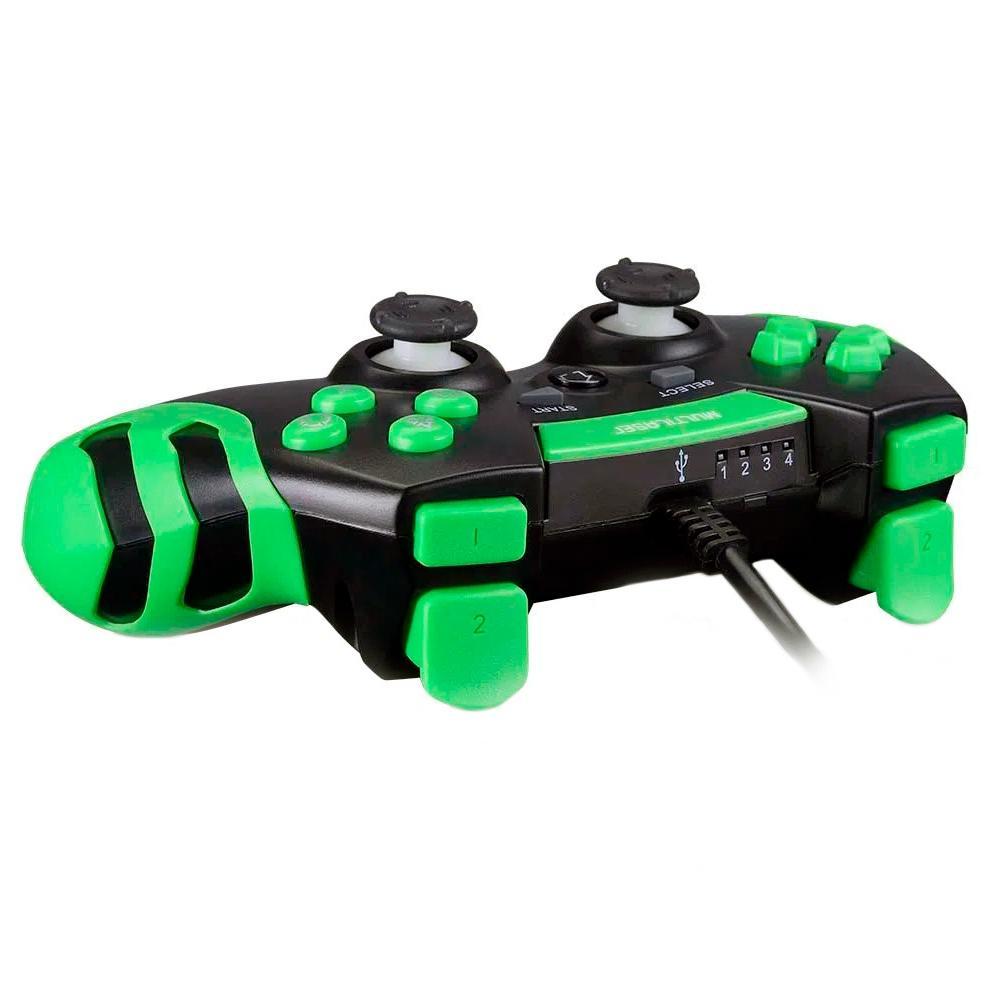 CONTROLE GAMER MULTILASER PARA PS3/PC, PRETO/VERDE - JS091