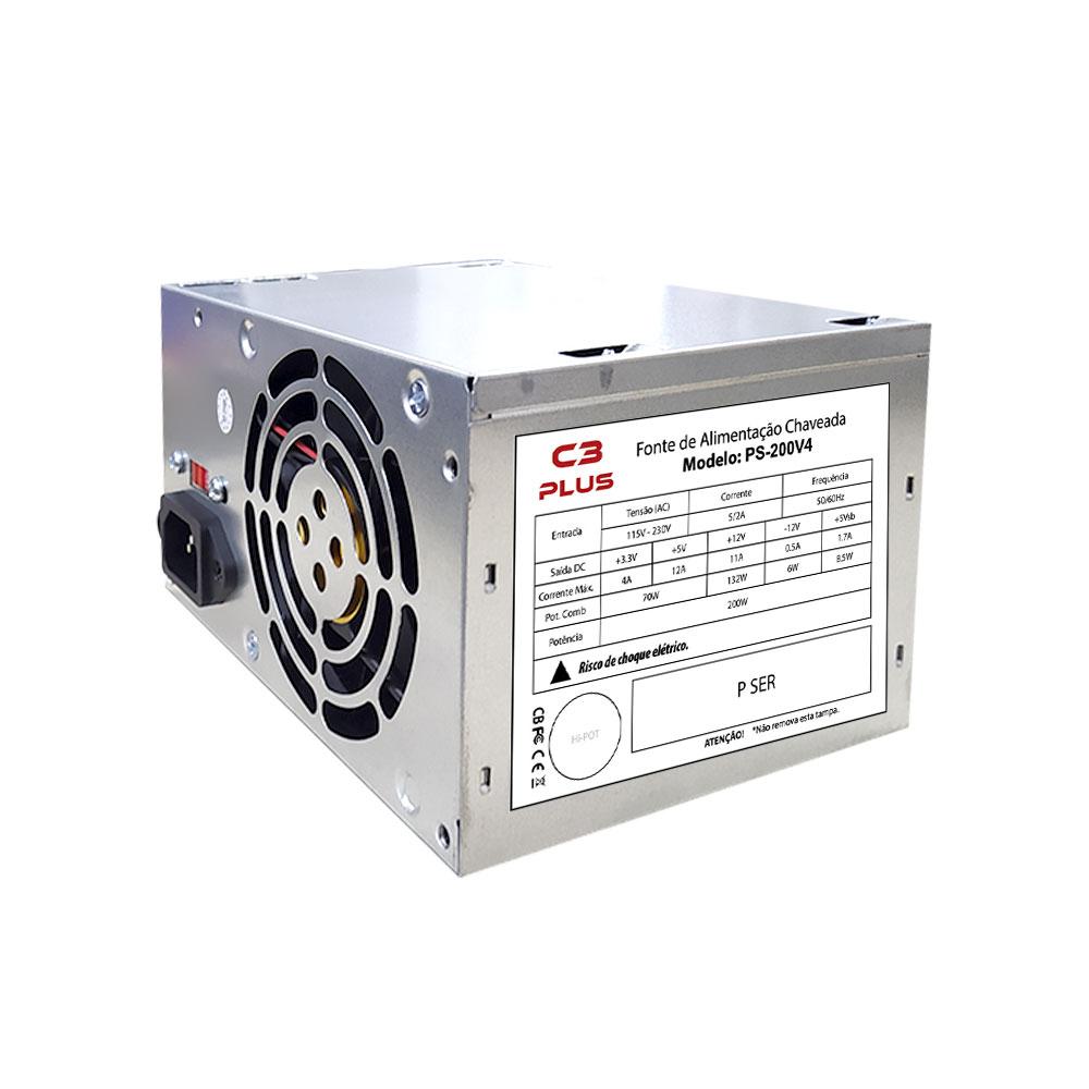 FONTE ATX C3TECH 200W, SEM CABO - PS-200V4