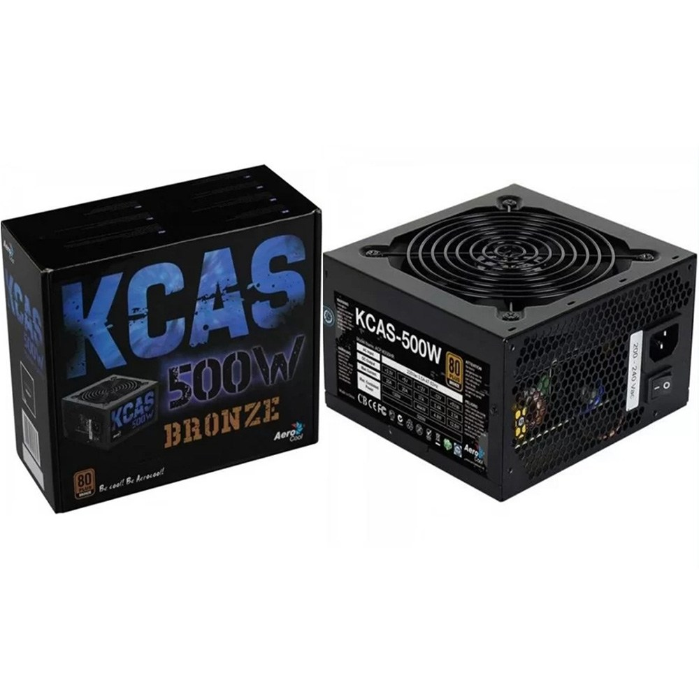 FONTE ATX S/CABO 500W KCAS EN53367 PRETO AEROCOOL 80 PLUS BRONZE