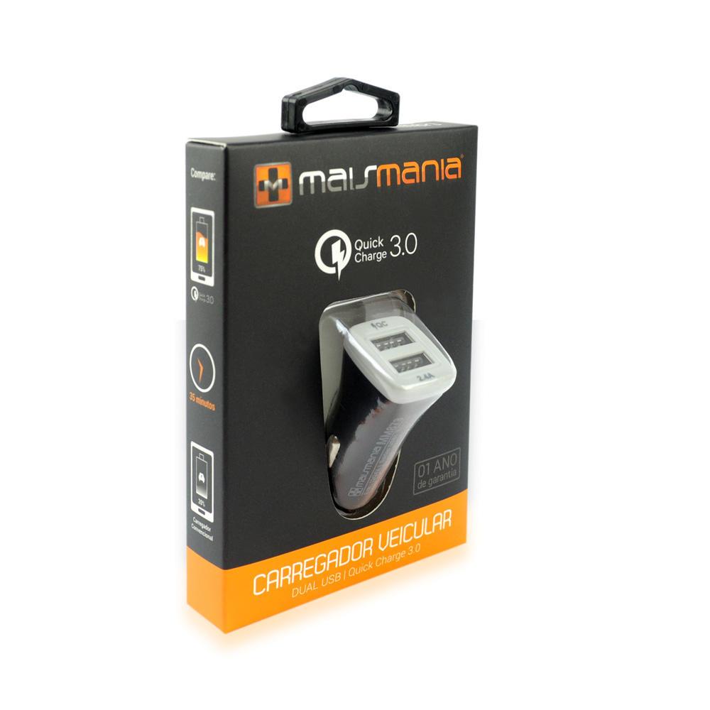 FONTE CARREGADOR MAIS MANIA VEICULAR DUAL USB CQ 3.0 TURBO 873