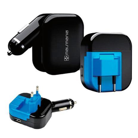 FONTE CARREGADOR UNIVERSAL MAIS MANIA DUAL USB CARRO E CASA M-M762