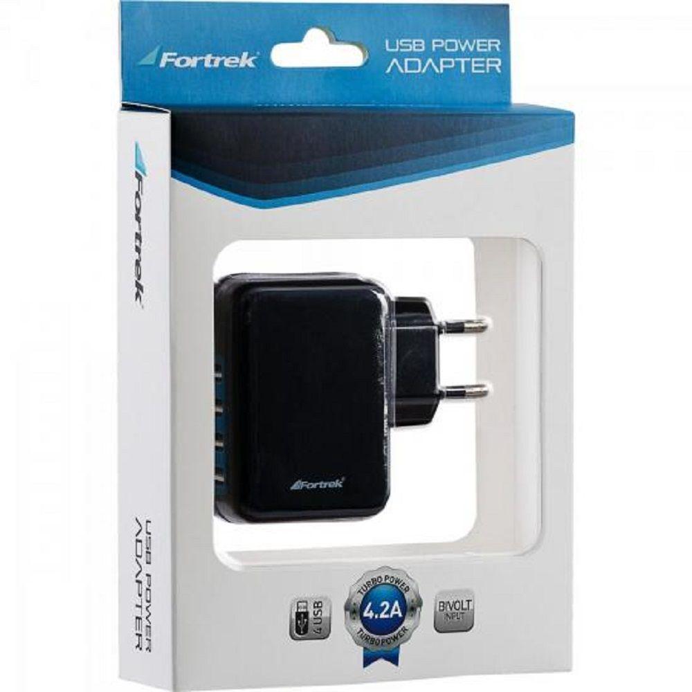 FONTE DE ENERGIA USB 4 PORTAS 4,2A UPS-101BK PRETO FORTREK.