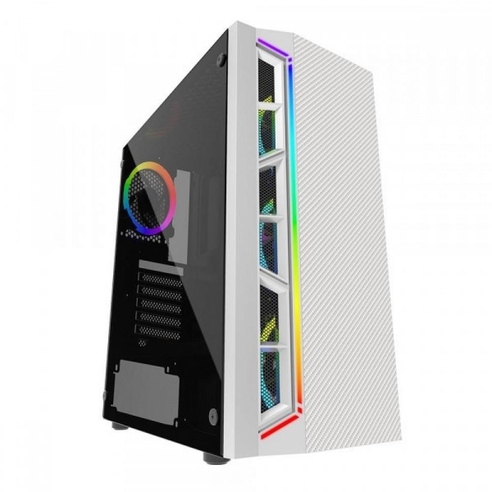 GABINETE GAMER BLUECASE BG-033, BRANCO, SEM FONTE, LED RGB, USB 3.0 FRONTAL