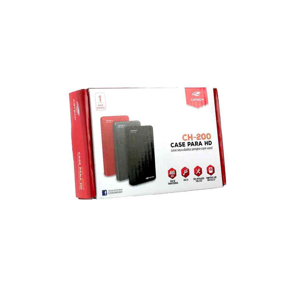 "GAVETA PARA HD EXTERNO 2,5"" C3 TECH CH-200BK, USB 2.0"