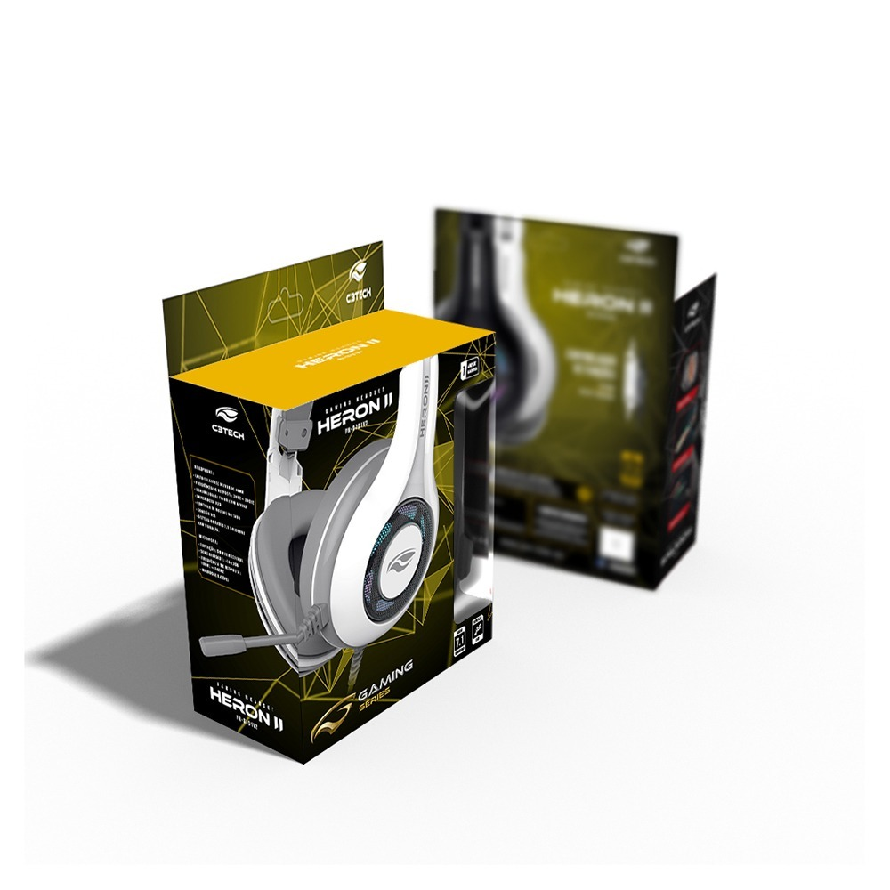 HEADSET GAMER HERON 2 7.1, USB, BRANCO PH-G701WHV2  C3 TECH