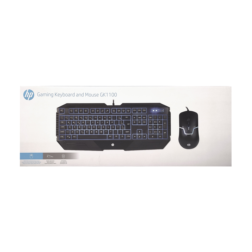 KIT TECLADO E MOUSE USB GAMING MEMBRANA GK1100 PRETO HP