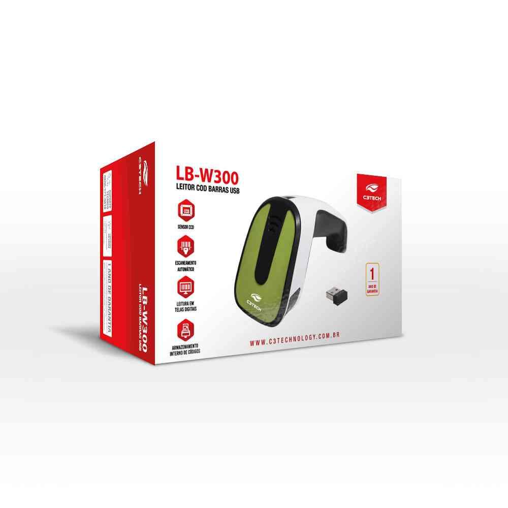 LEITOR DE CODIGO DE BARRAS SEM FIO C3 TECH LB-W300BK