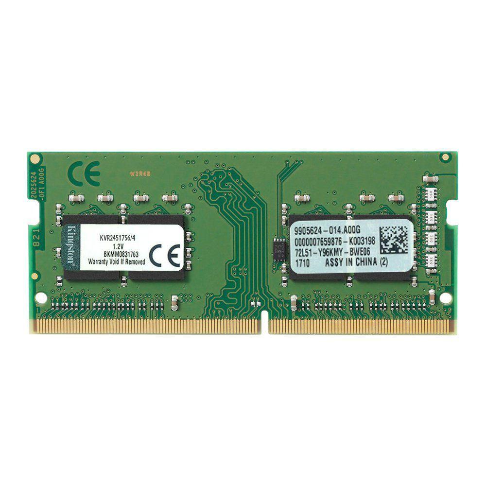 MEMÓRIA NOTEBOOK 4GB DDR4 2400MHZ KINGSTON 1.2V CL17 KCP424SS6/4
