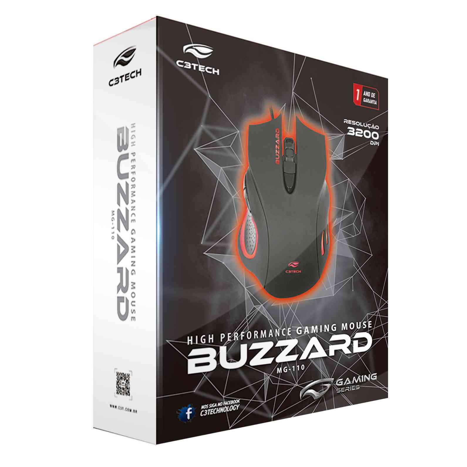 MOUSE GAMER BUZZARD MG-110BK USB PRETO - C3TECH