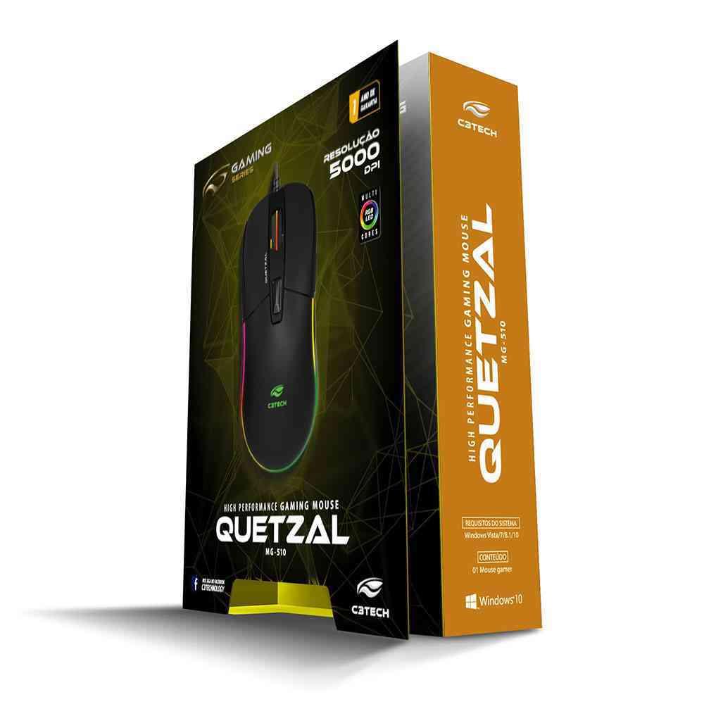 MOUSE GAMER QUETZAL MG-510BK USB - C3TECH