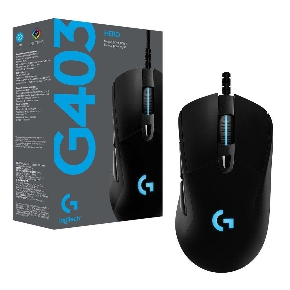 MOUSE LOGITECH G403 HERO GAMER C/ FIO