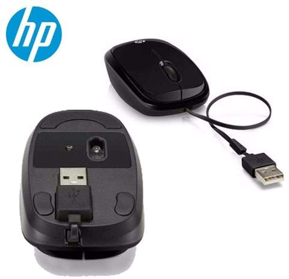 MOUSE USB HP RETRÁTIL X1250 - H6F02AA - PRETO