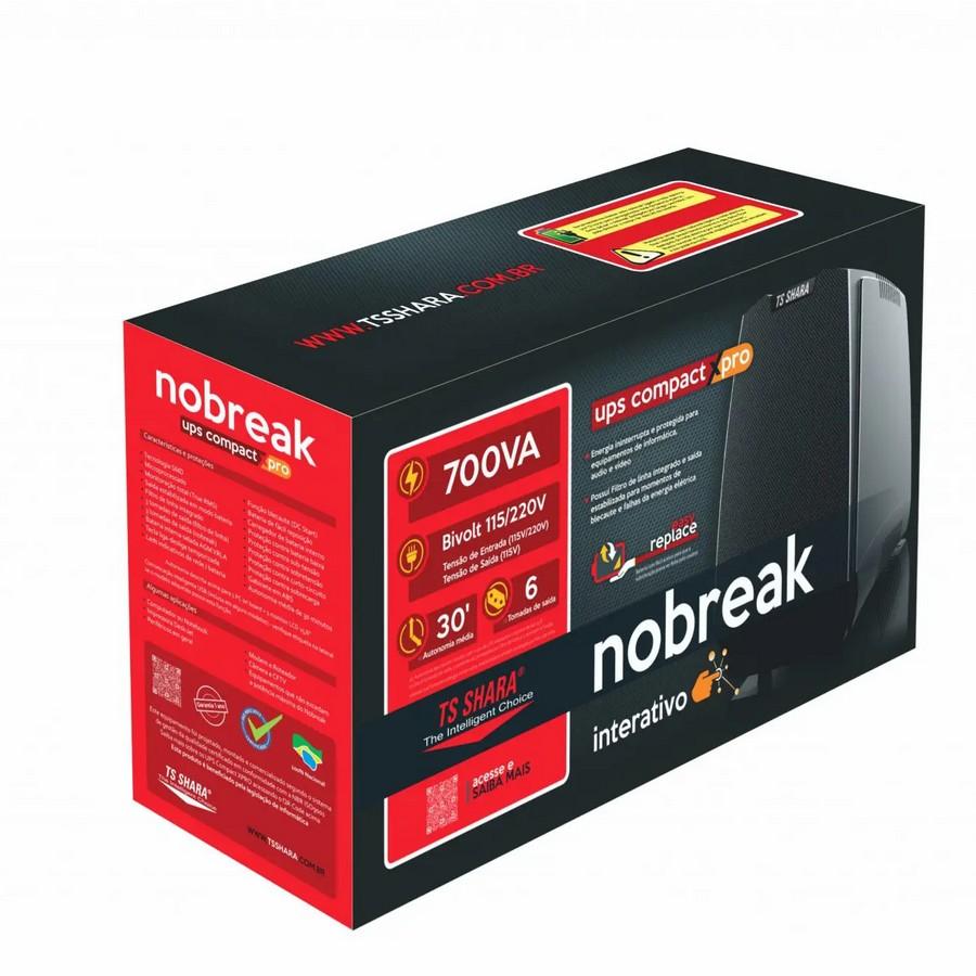 NOBREAK TS SHARA UPS COMPACT XPRO 700, BIVOLT, 6 TOMADAS 115V, PRETO - 4440