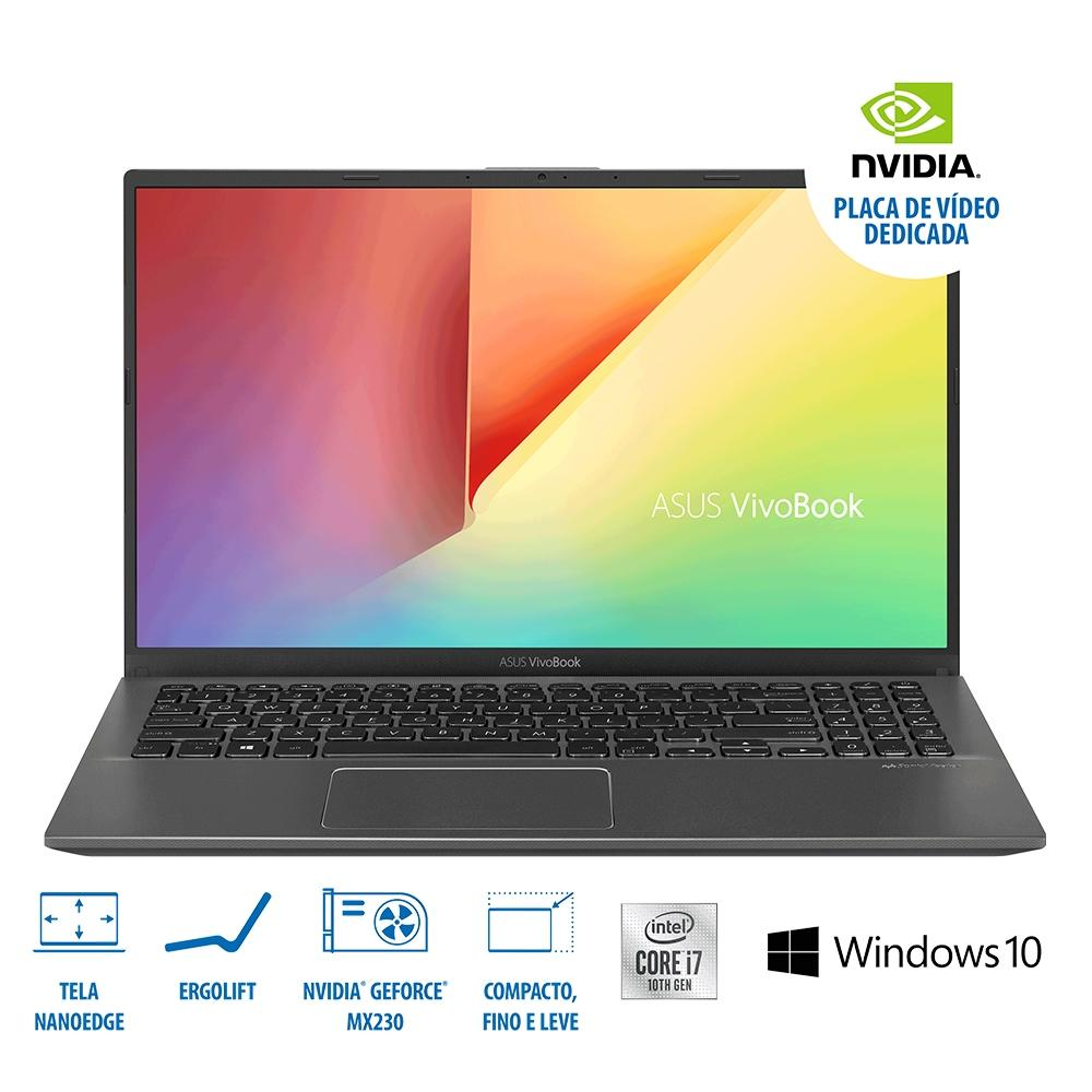 NOTEBOOK ASUS INTEL CORE I7-10510U, 8GB, 1TB, MX230 2GB, ( M2 ) 15.6´ CINZA ESCURO -  X512FJ-EJ551T
