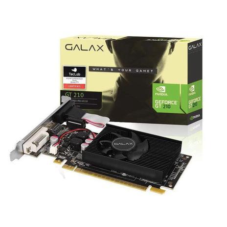 PLACA DE VIDEO GALAX GEFORCE 210, 1GB, DDR3, PCI-E 2.0, HDMI, DVI-I, VGA - 21GGF4HI00NP