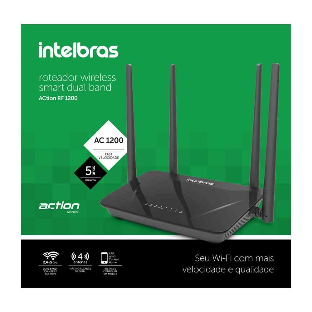 ROTEADOR WIRELESS INTELBRAS ACTION RF1200 DUAL BAND 1200MBPS 4 ANTENAS