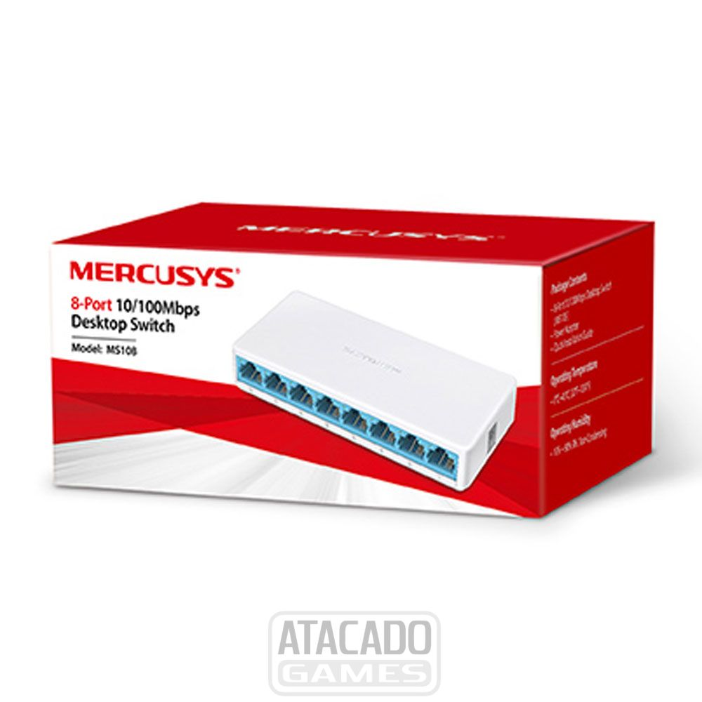 SWITCH  8 PORTAS MERCUSYS DESKTOP 10/100 MS108