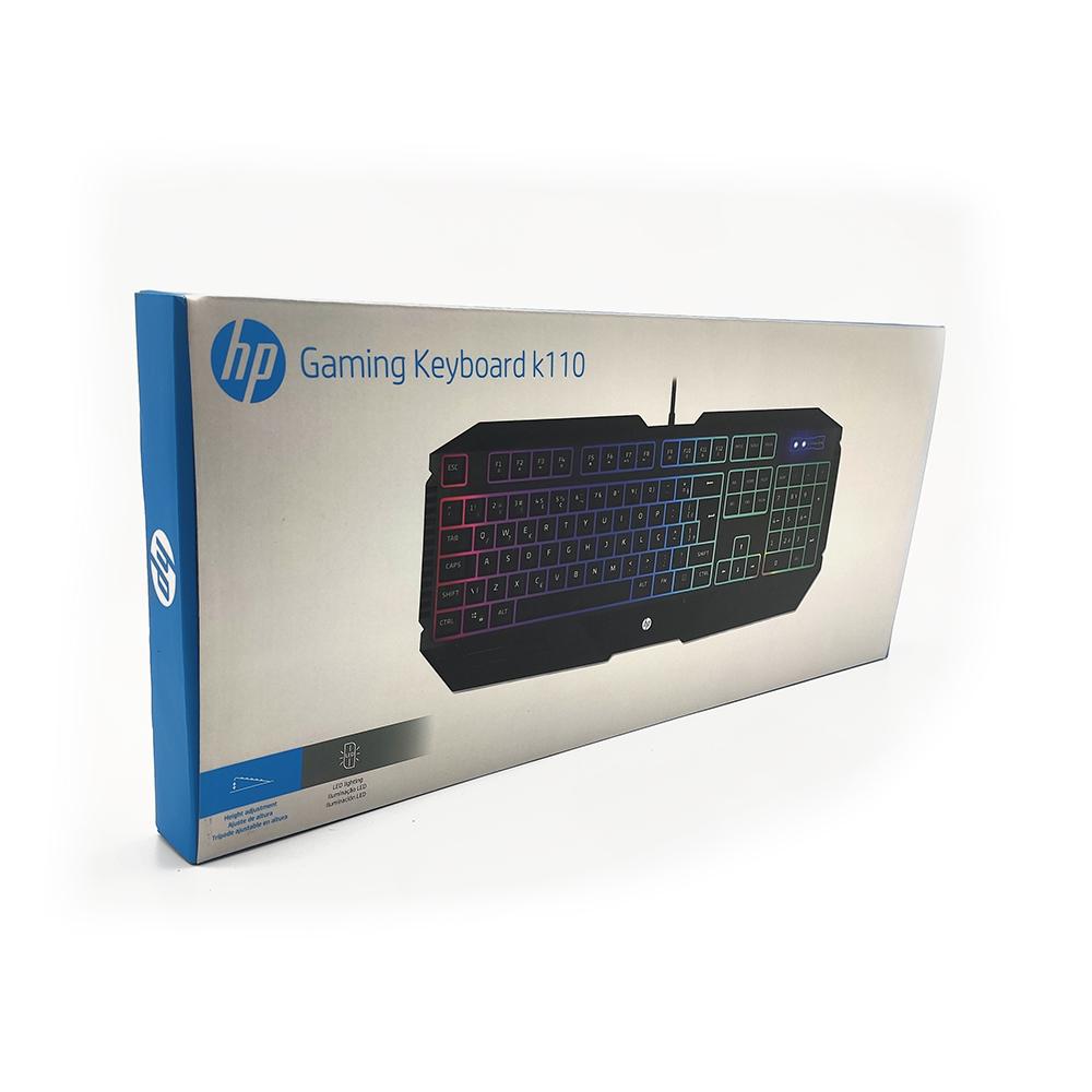 TECLADO GAMER HP K110 USB MEMBRANA LED PRETO