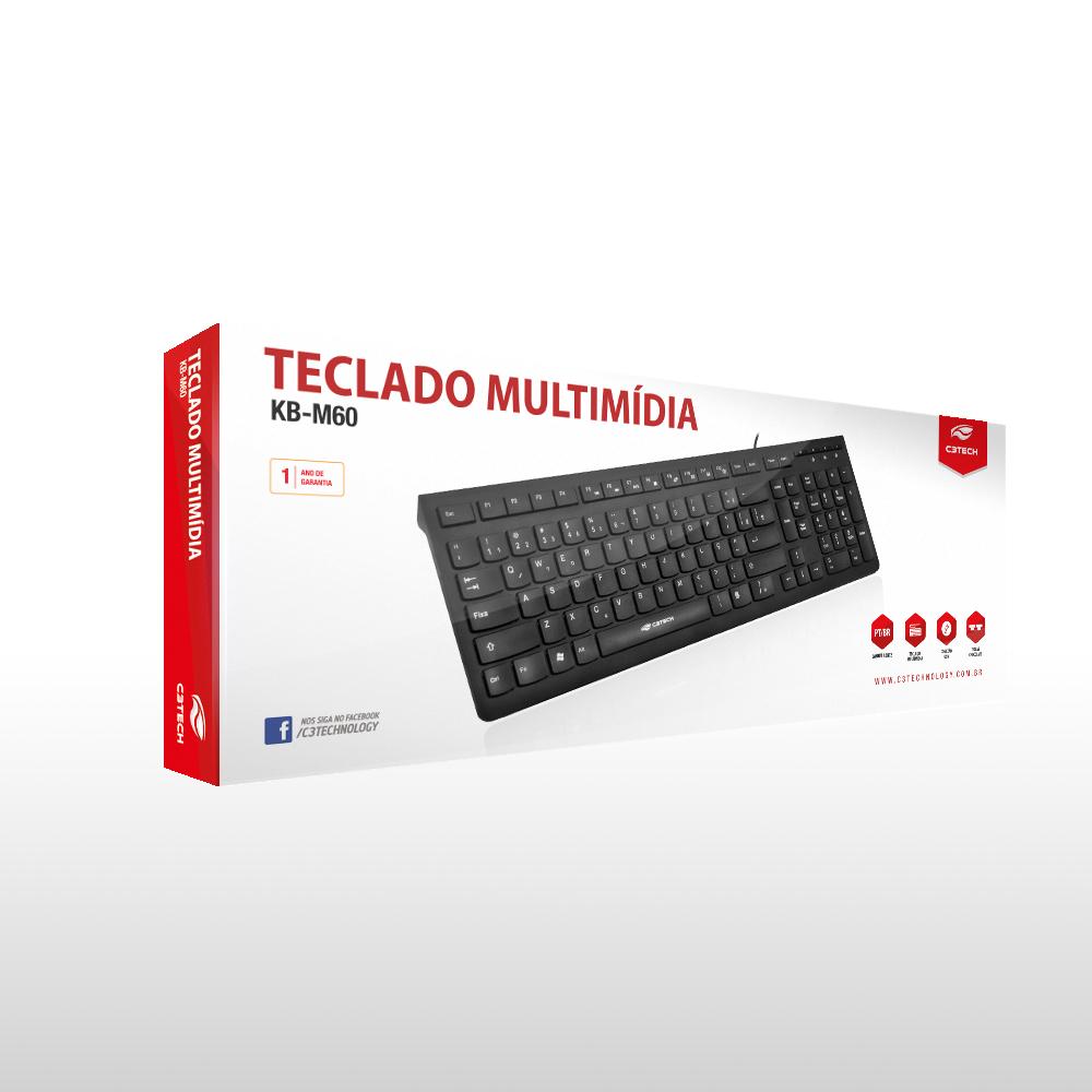 TECLADO USB MULTIMÍDIA KB-M60BK PRETO C3TECH