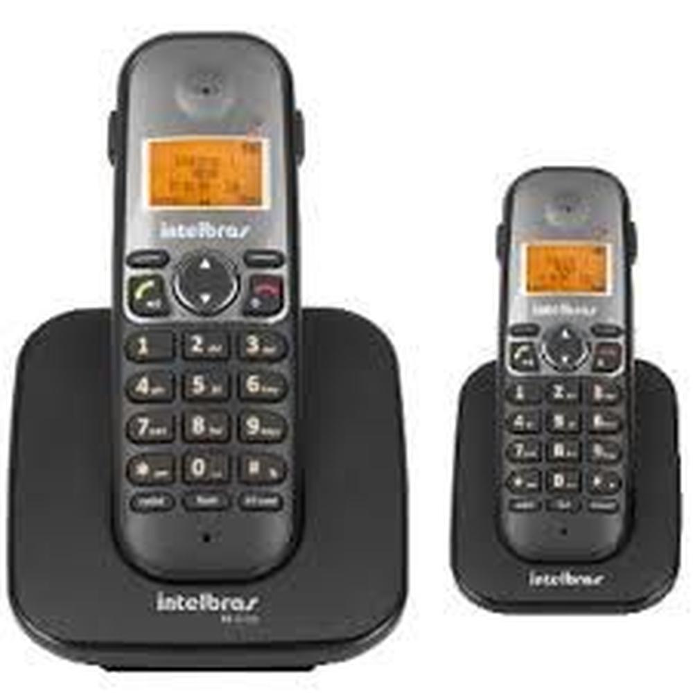 TELEFONE SEM FIO INTELBRAS TS 5122 COM RAMAL PRETO - 2 TELEFONE