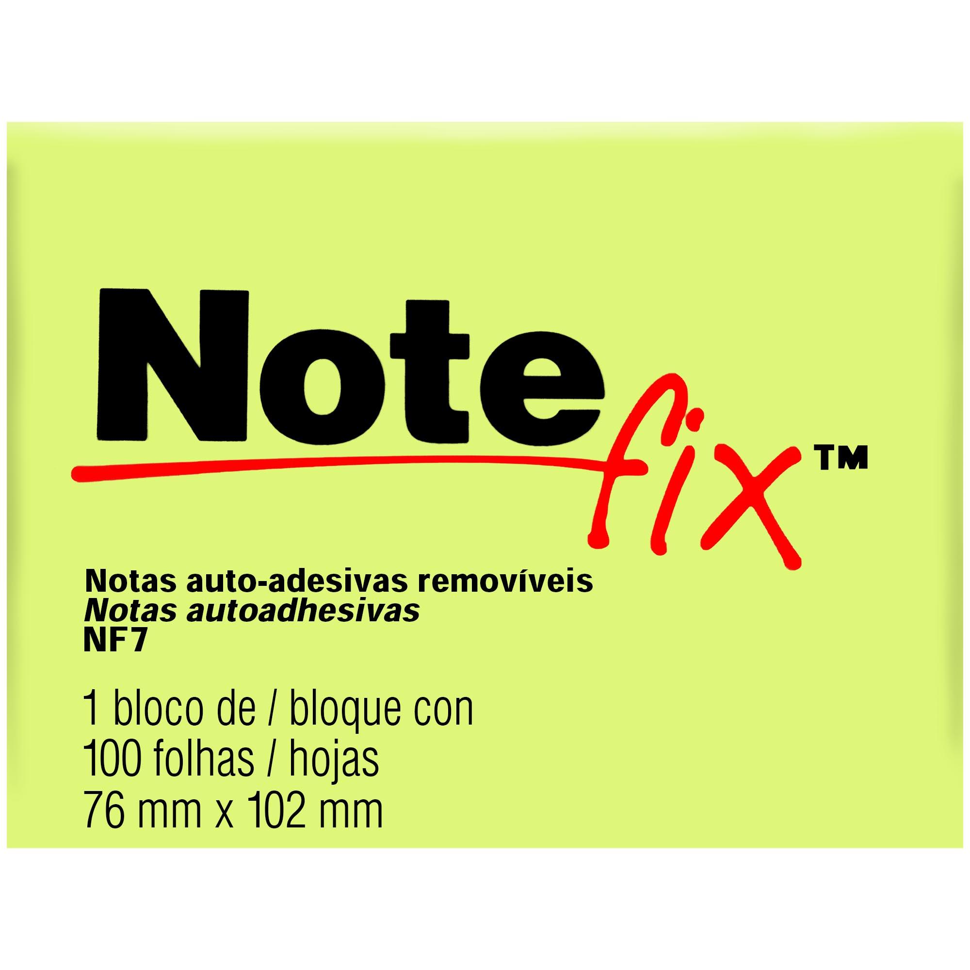 Bloco Autoadesivo Notefix NFX7 76MMX102MM 100FLS Cor Amarelo HB004088702 - 3M