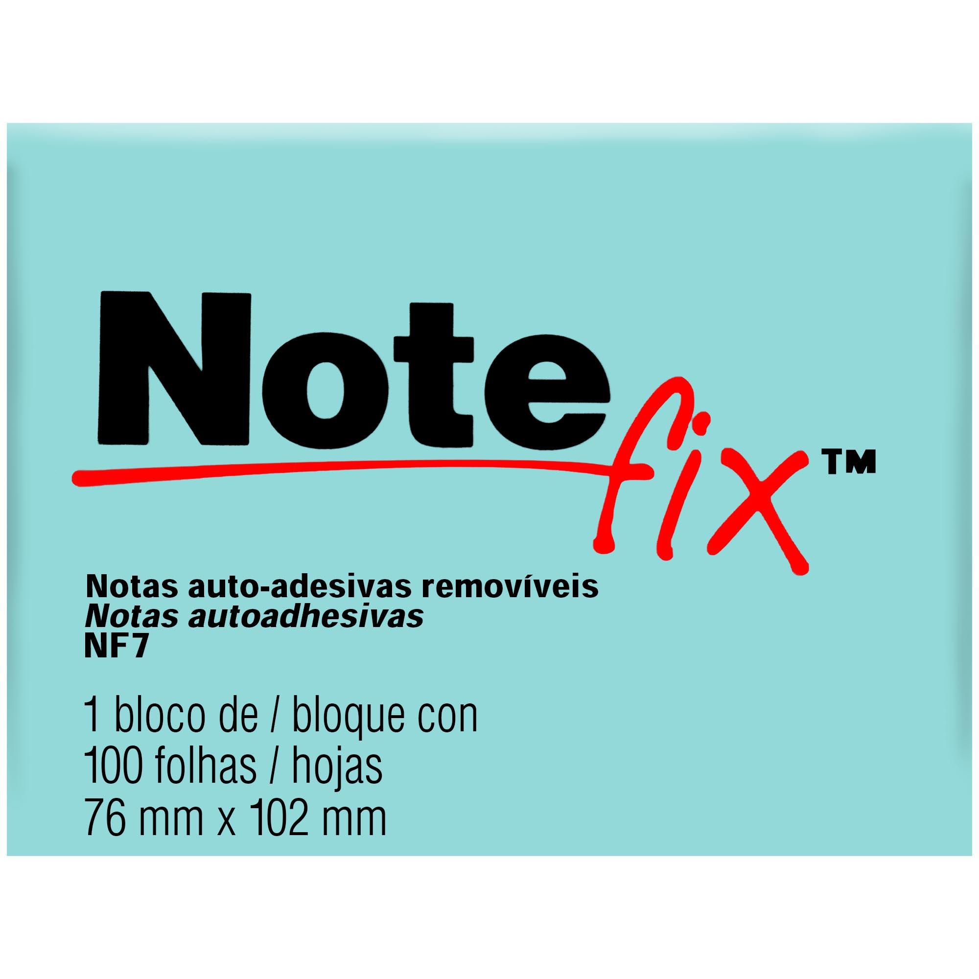 Bloco Autoadesivo Notefix NFX7 76MMX102MM 100FLS Cor Azul HB004116115 - 3M