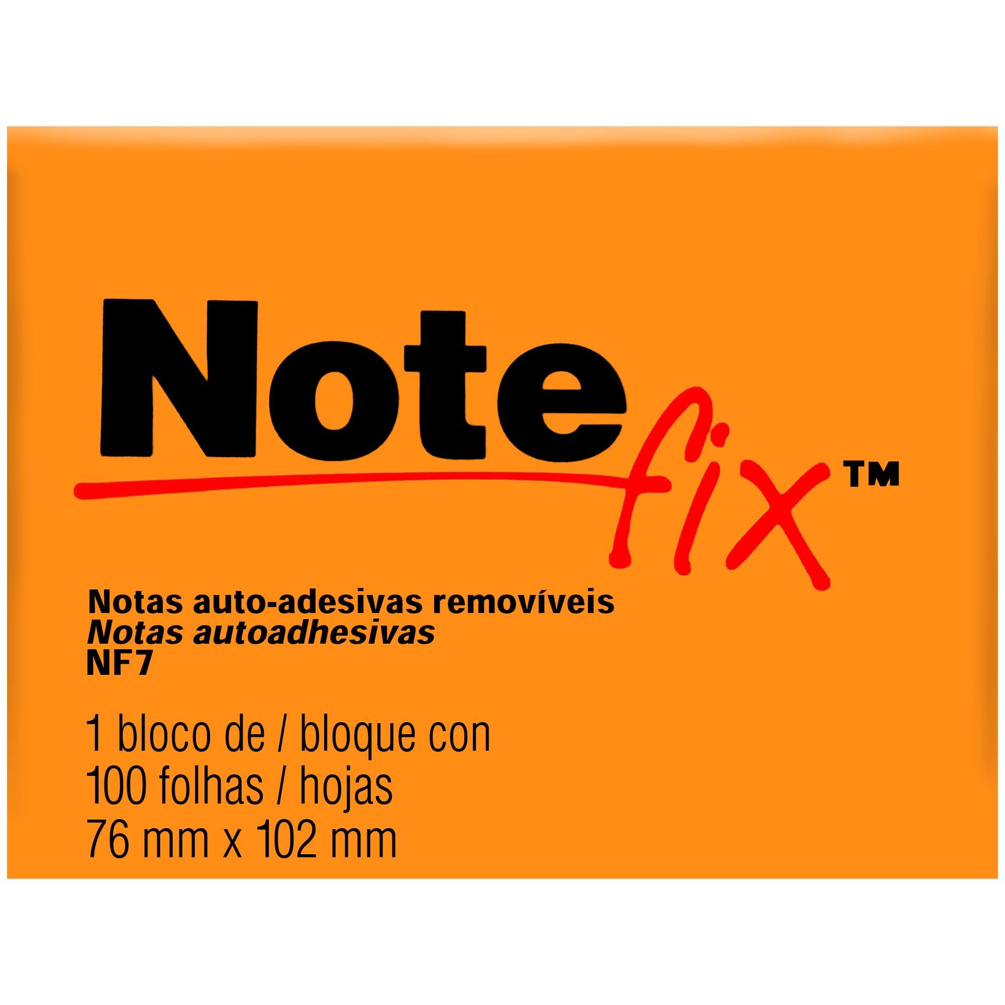 Bloco Autoadesivo Notefix NFX7 76MMX102MM 100FLS Cor Laranja HB004116081 - 3M