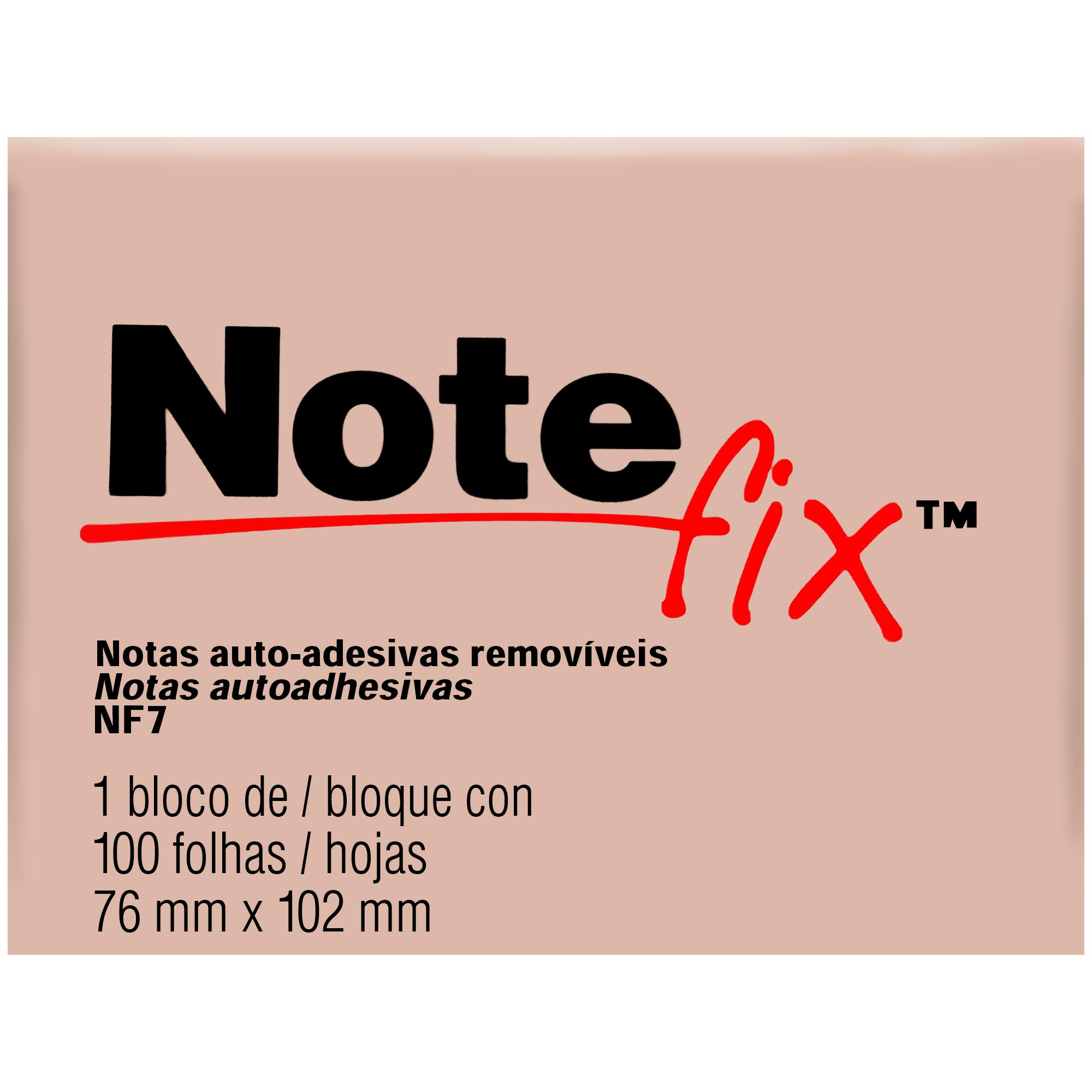 Bloco Autoadesivo Notefix NFX7 76MMX102MM 100FLS Cor Rosa HB004116107 - 3M