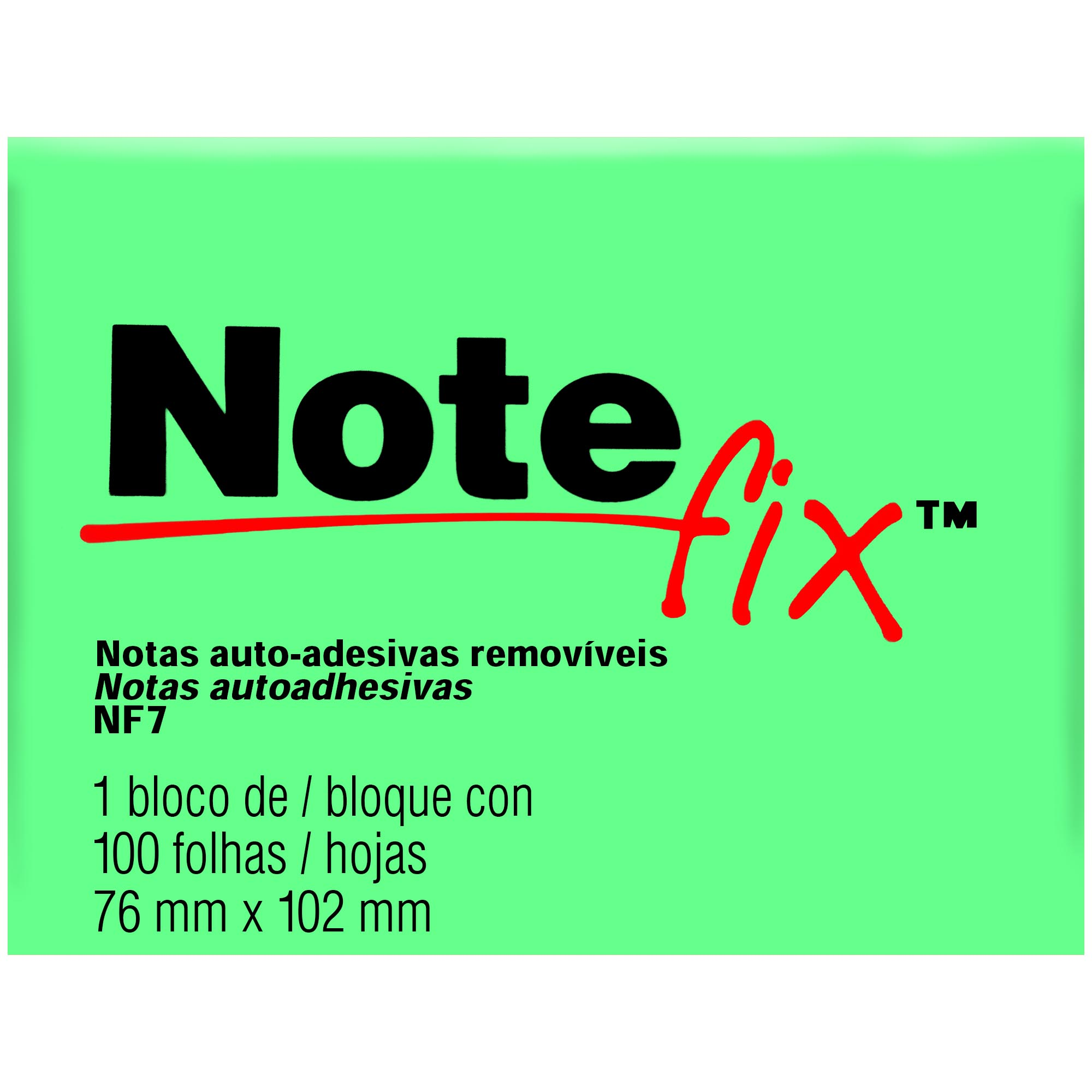 Bloco Autoadesivo Notefix NFX7 76MMX102MM 100FLS Cor Verde HB004116099 - 3M