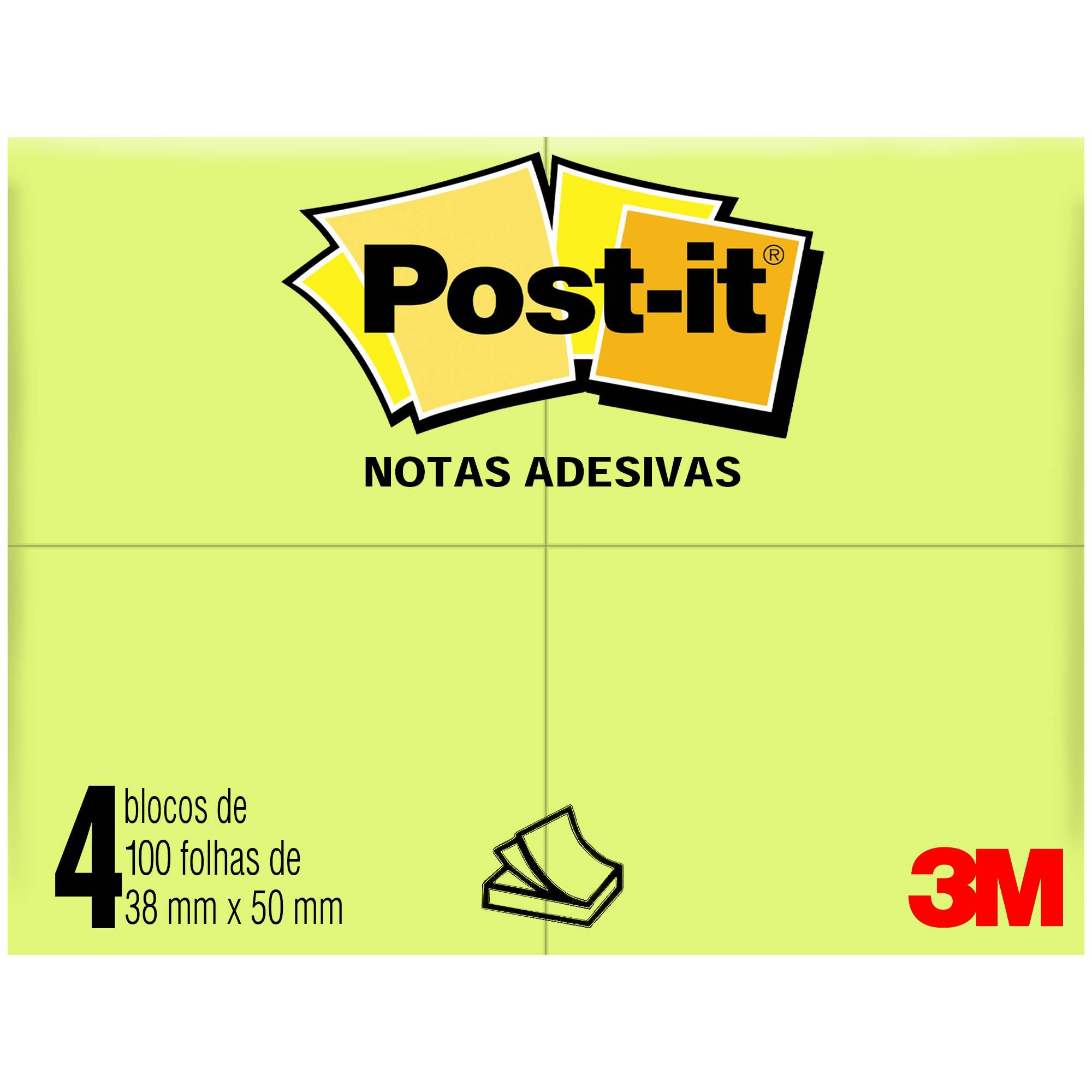 Bloco Autoadesivo Post-It 653 100f 4bl 38MMX50MM HT Cor Amarelo HB004088165 - 3M